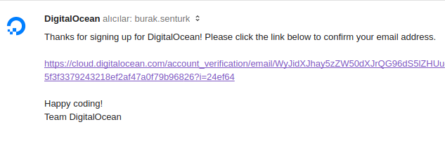 digitalocean onay maili
