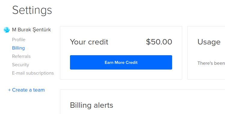 digitalocean bakiye 50$